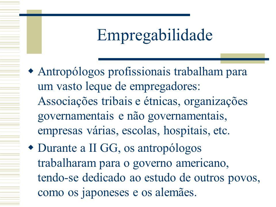 Empregabilidade Antropólogos profissionais trabalham para um vasto leque de empregadores: Associações tribais e étnicas, organizações governamentais e