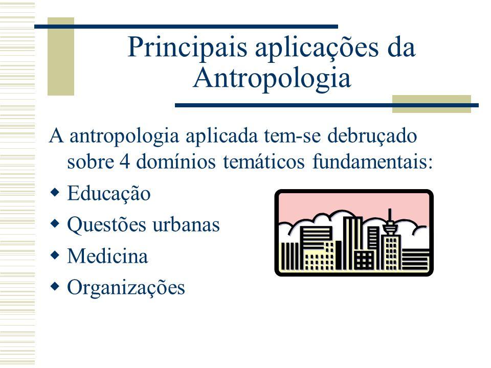 Principais aplicações da Antropologia A antropologia aplicada tem-se debruçado sobre 4 domínios temáticos fundamentais: Educação Questões urbanas Medi
