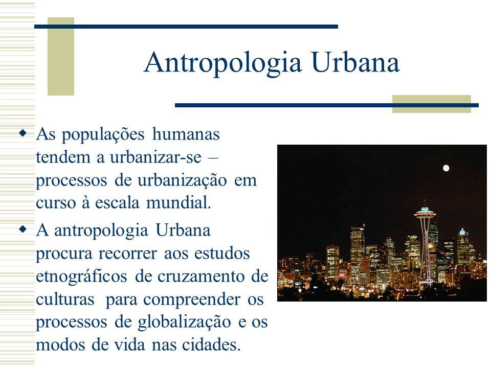 Antropologia Urbana As populações humanas tendem a urbanizar-se – processos de urbanização em curso à escala mundial. A antropologia Urbana procura re