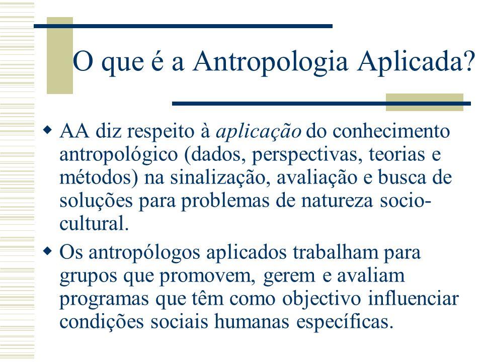 O que é a Antropologia Aplicada? AA diz respeito à aplicação do conhecimento antropológico (dados, perspectivas, teorias e métodos) na sinalização, av