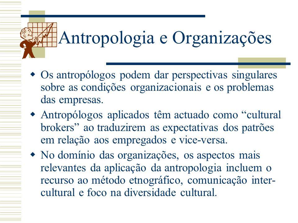 Antropologia e Organizações Os antropólogos podem dar perspectivas singulares sobre as condições organizacionais e os problemas das empresas. Antropól