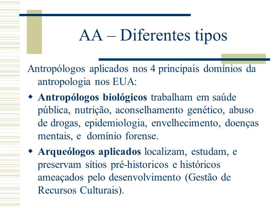 AA – Diferentes tipos Antropólogos aplicados nos 4 principais domínios da antropologia nos EUA: Antropólogos biológicos trabalham em saúde pública, nu