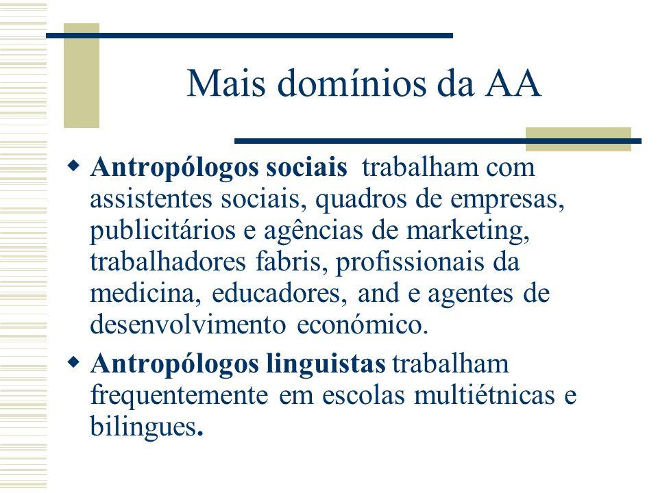 Mais domínios da AA Antropólogos sociais trabalham com assistentes sociais, quadros de empresas, publicitários e agências de marketing, trabalhadores