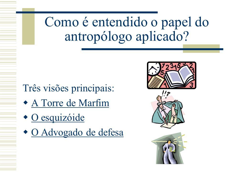 Como é entendido o papel do antropólogo aplicado? Três visões principais: A Torre de Marfim O esquizóide O Advogado de defesa