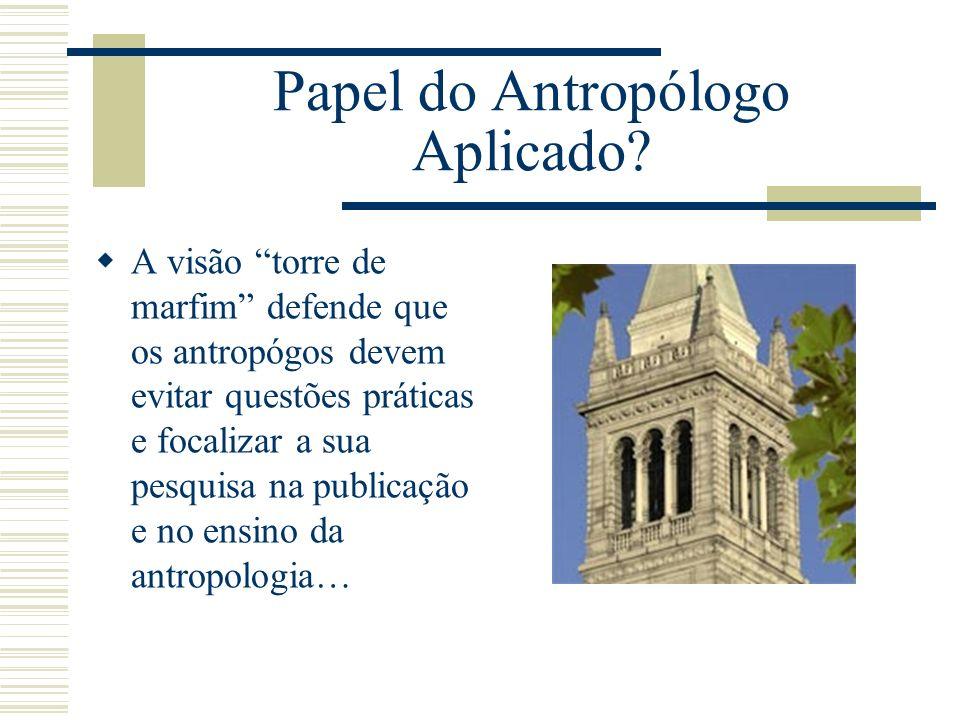 Papel do Antropólogo Aplicado? A visão torre de marfim defende que os antropógos devem evitar questões práticas e focalizar a sua pesquisa na publicaç