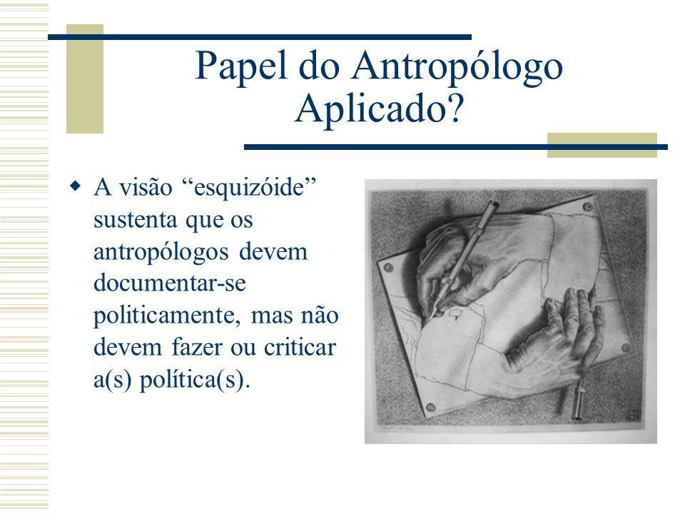 Papel do Antropólogo Aplicado? A visão esquizóide sustenta que os antropólogos devem documentar-se politicamente, mas não devem fazer ou criticar a(s)