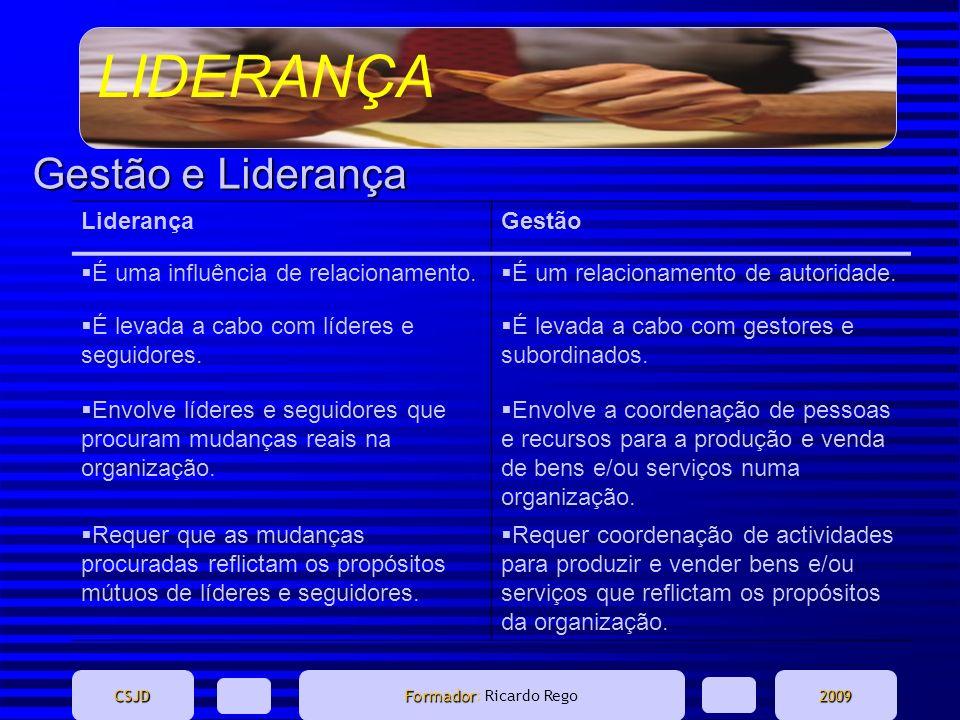 LIDERANÇA CSJD Formador Formador: Ricardo Rego2009 Gestão e Liderança LiderançaGestão É uma influência de relacionamento. É um relacionamento de autor