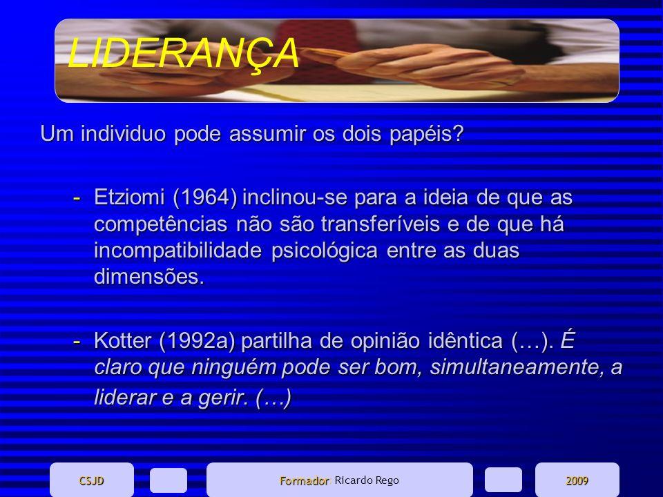 LIDERANÇA CSJD Formador Formador: Ricardo Rego2009 Um individuo pode assumir os dois papéis? -Etziomi (1964) inclinou-se para a ideia de que as compet
