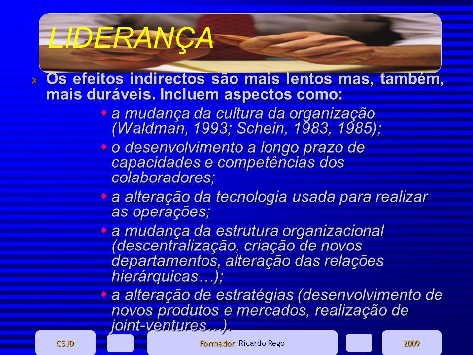 LIDERANÇA CSJD Formador Formador: Ricardo Rego2009 Os efeitos indirectos são mais lentos mas, também, mais duráveis. Incluem aspectos como: a mudança