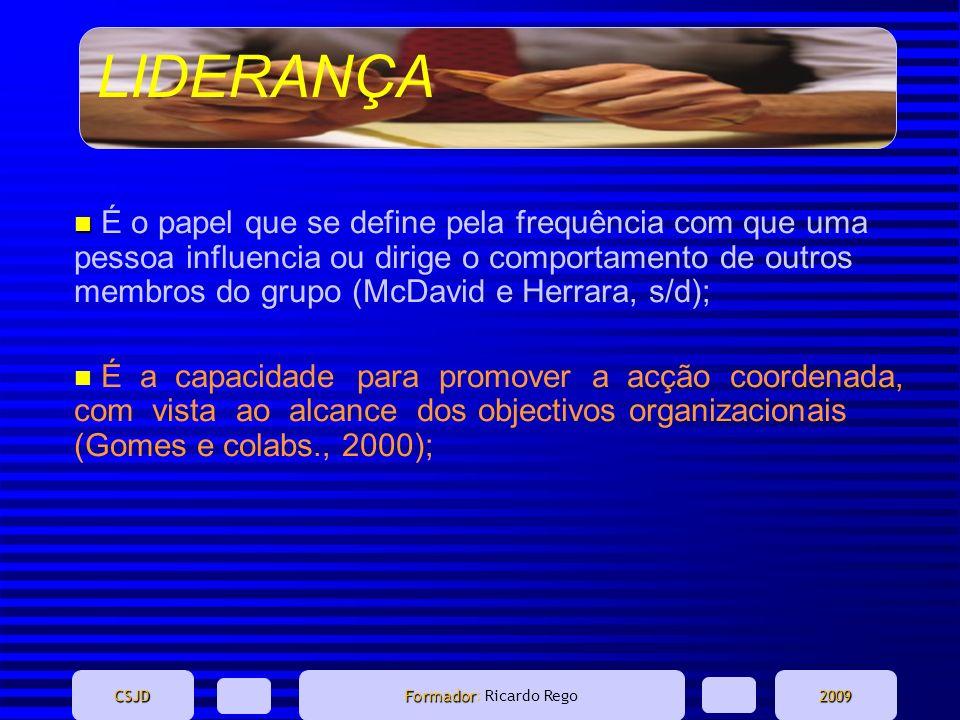 LIDERANÇA CSJD Formador Formador: Ricardo Rego2009 n n É o papel que se define pela frequência com que uma pessoa influencia ou dirige o comportamento