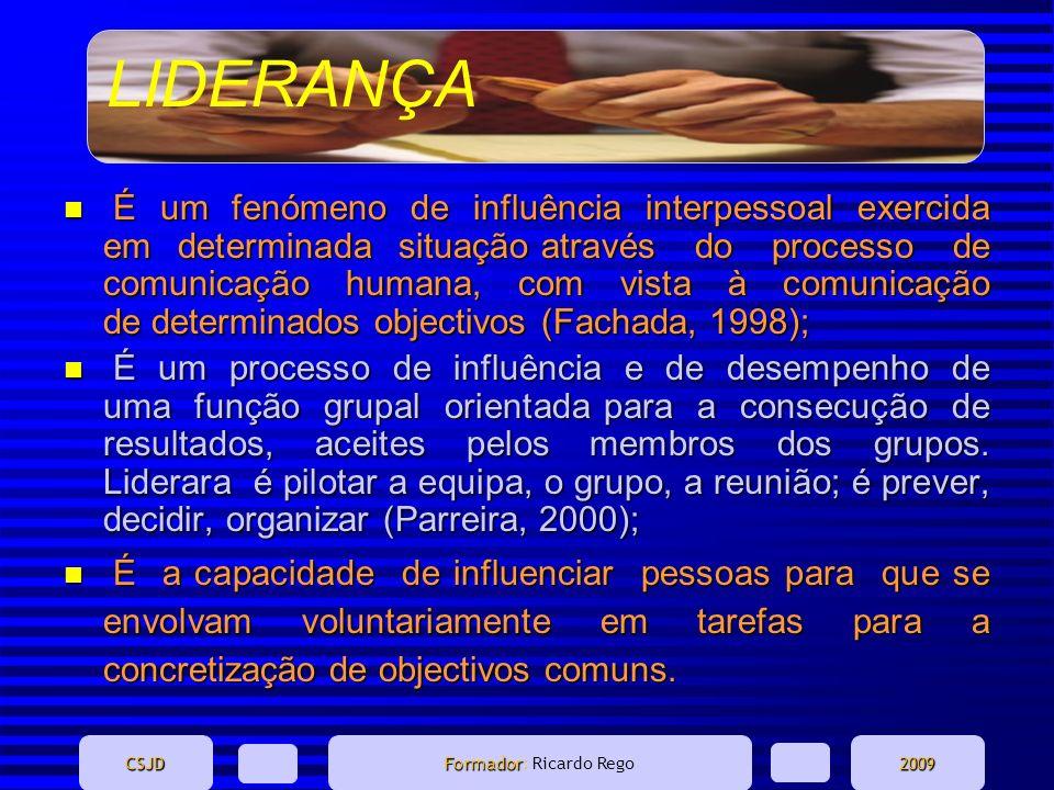 LIDERANÇA CSJD Formador Formador: Ricardo Rego2009 n É um fenómeno de influência interpessoal exercida em determinada situação através do processo de