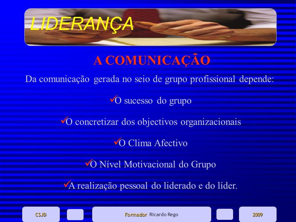 LIDERANÇA CSJD Formador Formador: Ricardo Rego2009 A COMUNICAÇÃO Da comunicação gerada no seio de grupo profissional depende: O sucesso do grupo O con