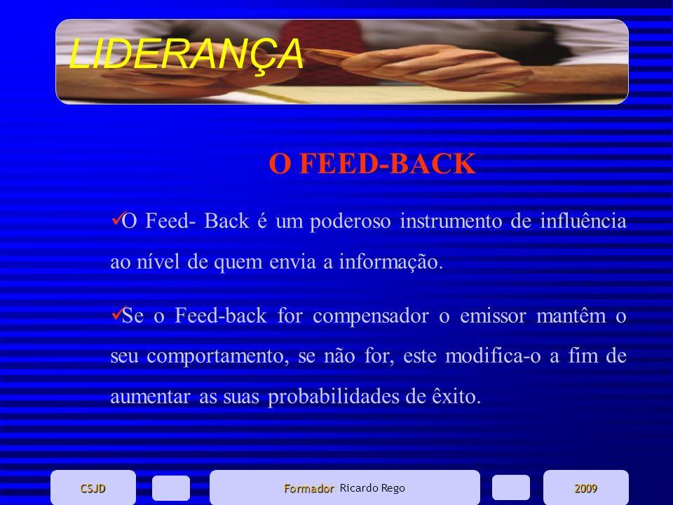 LIDERANÇA CSJD Formador Formador: Ricardo Rego2009 O FEED-BACK O Feed- Back é um poderoso instrumento de influência ao nível de quem envia a informaçã