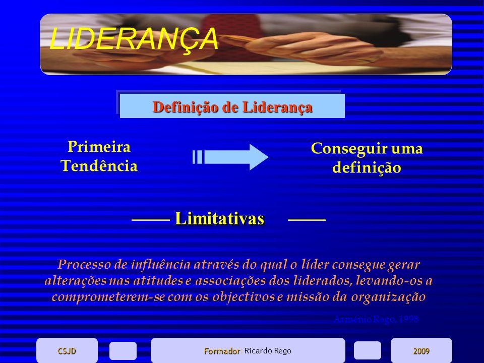LIDERANÇA CSJD Formador Formador: Ricardo Rego2009 Primeira Tendência Conseguir uma definição Processo de influência através do qual o líder consegue