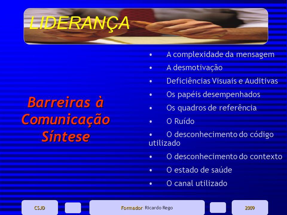 LIDERANÇA CSJD Formador Formador: Ricardo Rego2009 Barreiras à Comunicação Síntese A complexidade da mensagem A desmotivação Deficiências Visuais e Au