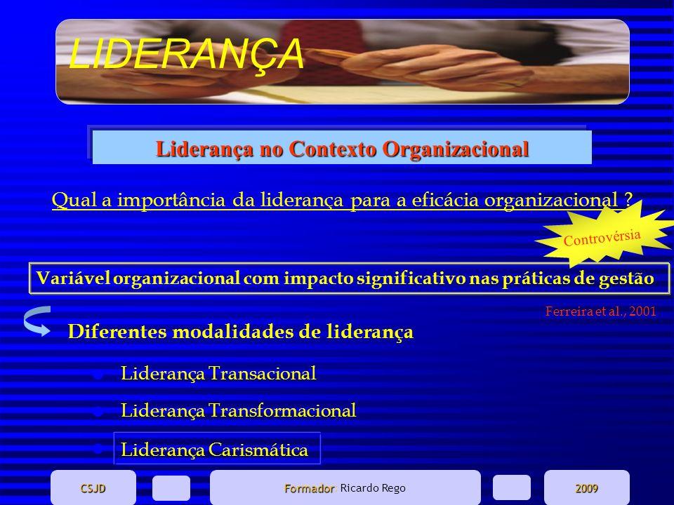 LIDERANÇA CSJD Formador Formador: Ricardo Rego2009 A liderança é uma das temáticas que mais atenção tem merecido por parte de investigadores e profissionais dos diversos sectores de actividade.