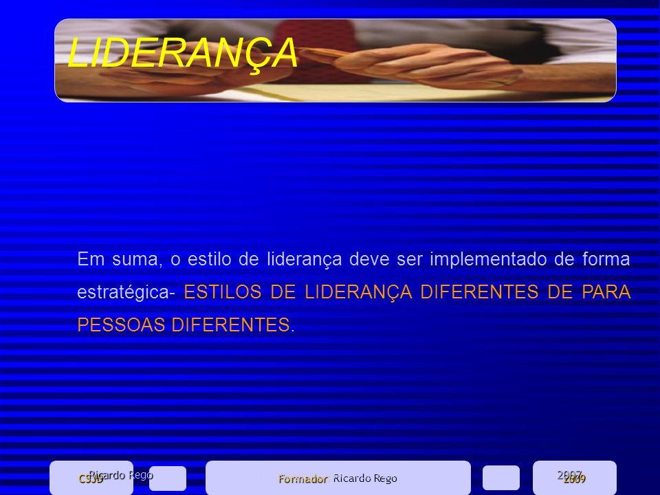 LIDERANÇA CSJD Formador Formador: Ricardo Rego2009 Em suma, o estilo de liderança deve ser implementado de forma estratégica- ESTILOS DE LIDERANÇA DIF
