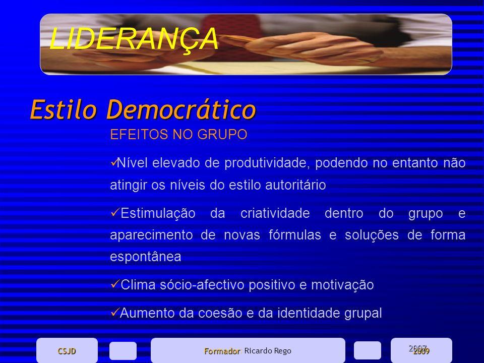 LIDERANÇA CSJD Formador Formador: Ricardo Rego2009 Estilo Democrático EFEITOS NO GRUPO Nível elevado de produtividade, podendo no entanto não atingir