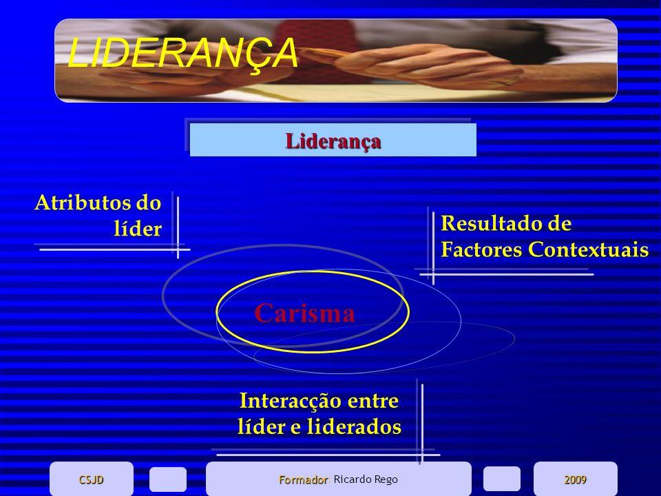 LIDERANÇA CSJD Formador Formador: Ricardo Rego2009 Atributos do líder Resultado de Factores Contextuais Interacção entre líder e liderados Liderança C