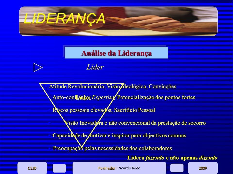 LIDERANÇA CSJD Formador Formador: Ricardo Rego2009 Análise da Liderança Líder Lidera fazendo e não apenas dizendo Atitude Revolucionária; Visão Ideoló