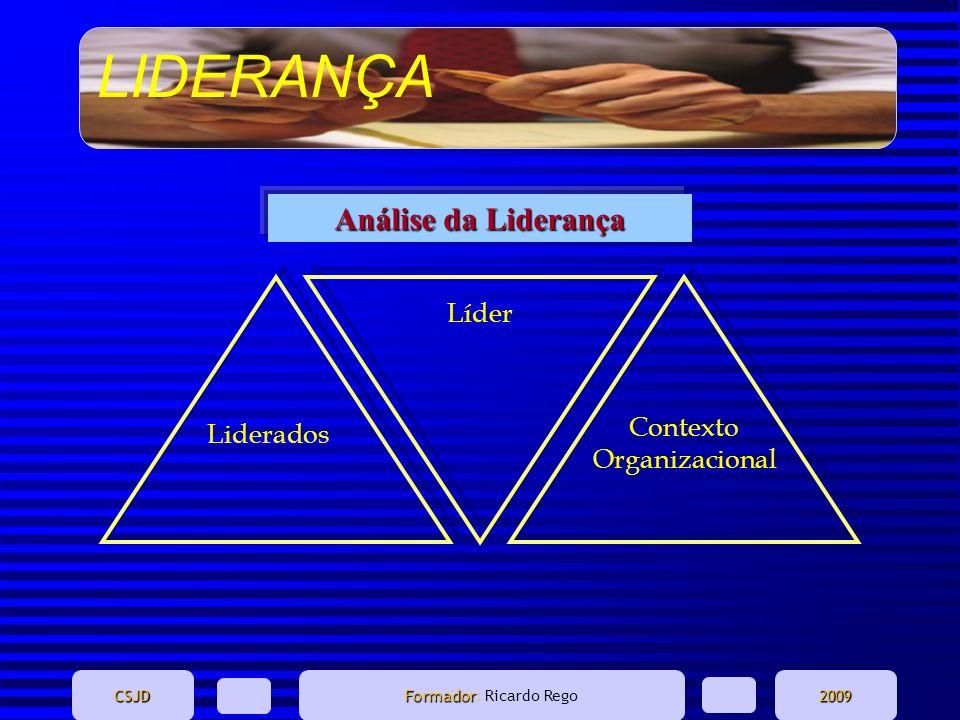 LIDERANÇA CSJD Formador Formador: Ricardo Rego2009 Líder Contexto Organizacional Liderados Análise da Liderança