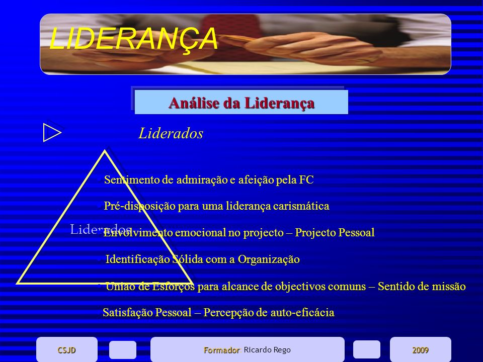 LIDERANÇA CSJD Formador Formador: Ricardo Rego2009 Liderados Análise da Liderança Liderados Sentimento de admiração e afeição pela FC Envolvimento emo