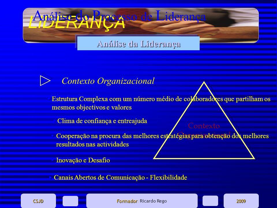 LIDERANÇA CSJD Formador Formador: Ricardo Rego2009 Análise da Liderança A nálise d o P rocesso de L iderança Contexto Organizacional Estrutura Complex