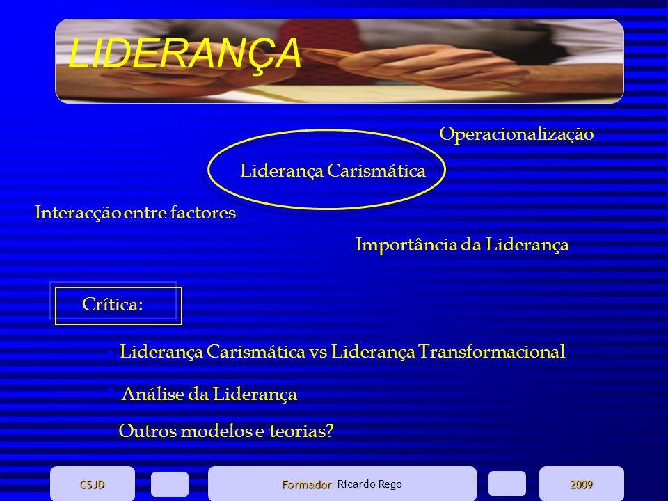 LIDERANÇA CSJD Formador Formador: Ricardo Rego2009 Interacção entre factores Importância da Liderança Desmistificação Operacionalização Liderança Cari