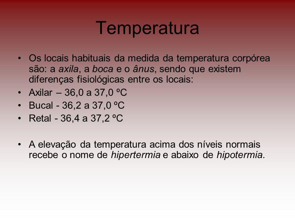 Temperatura Os locais habituais da medida da temperatura corpórea são: a axila, a boca e o ânus, sendo que existem diferenças fisiológicas entre os lo