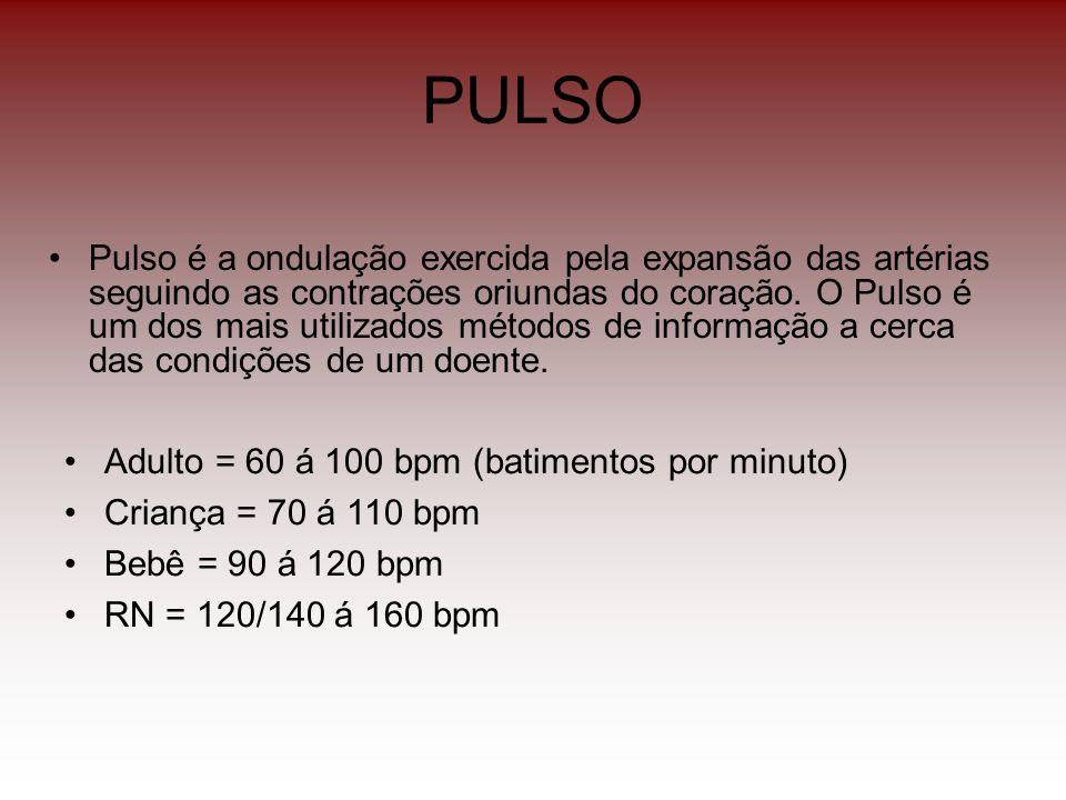 PULSO Pulso é a ondulação exercida pela expansão das artérias seguindo as contrações oriundas do coração. O Pulso é um dos mais utilizados métodos de