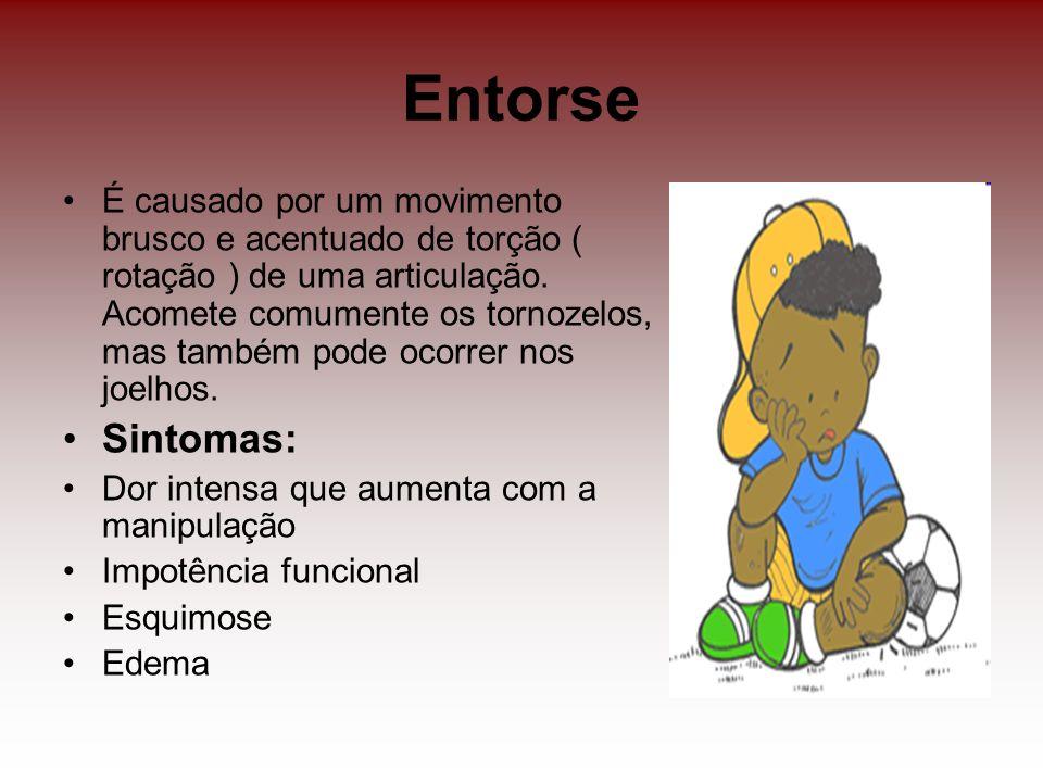 Entorse É causado por um movimento brusco e acentuado de torção ( rotação ) de uma articulação. Acomete comumente os tornozelos, mas também pode ocorr
