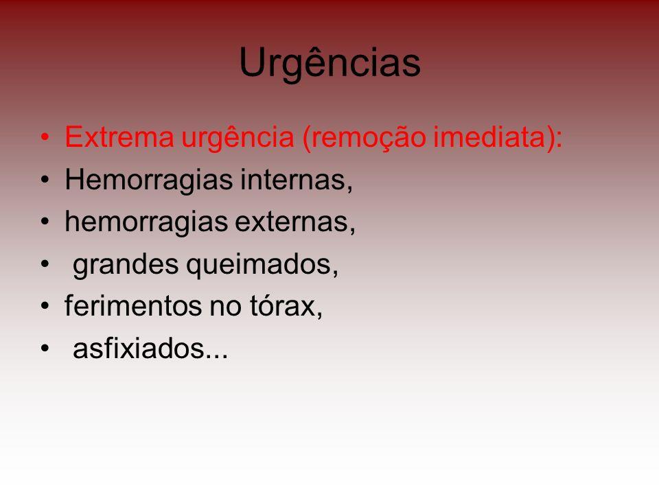 Urgências Extrema urgência (remoção imediata): Hemorragias internas, hemorragias externas, grandes queimados, ferimentos no tórax, asfixiados...