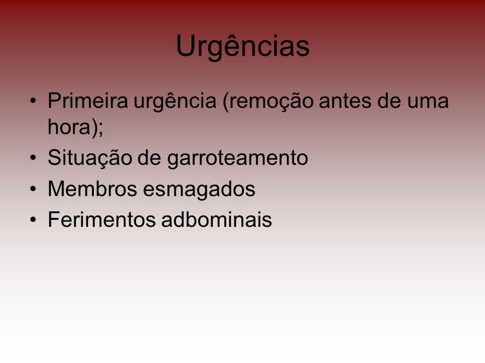 Urgências Primeira urgência (remoção antes de uma hora); Situação de garroteamento Membros esmagados Ferimentos adbominais