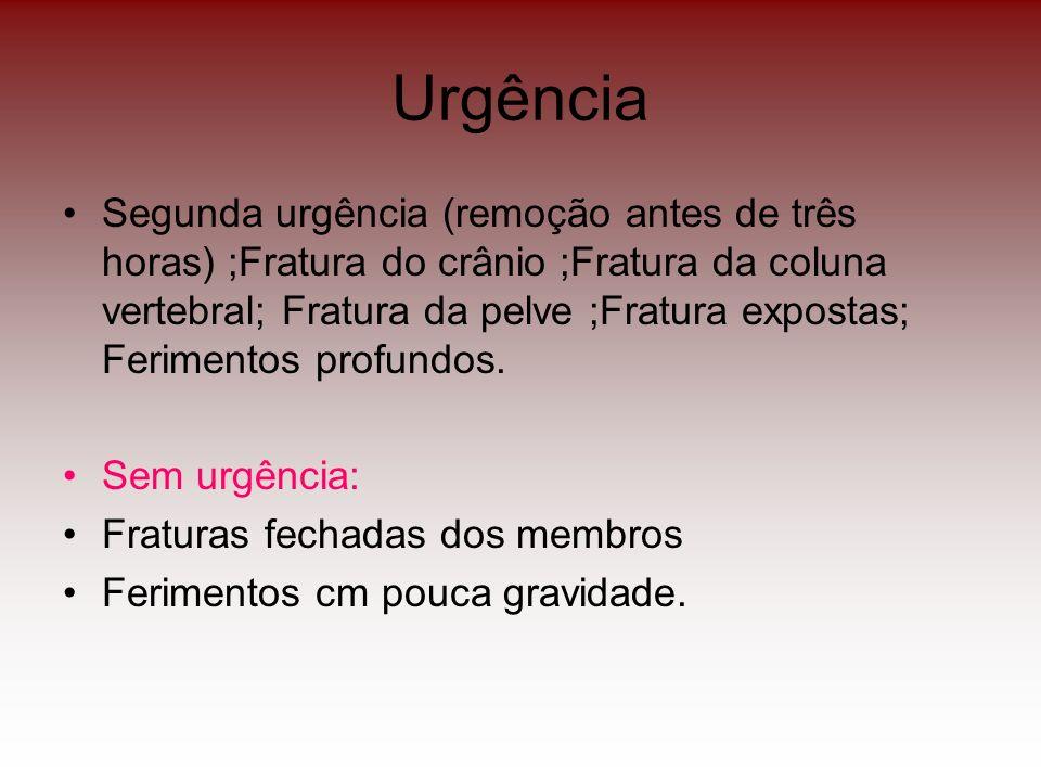 Urgência Segunda urgência (remoção antes de três horas) ;Fratura do crânio ;Fratura da coluna vertebral; Fratura da pelve ;Fratura expostas; Ferimento