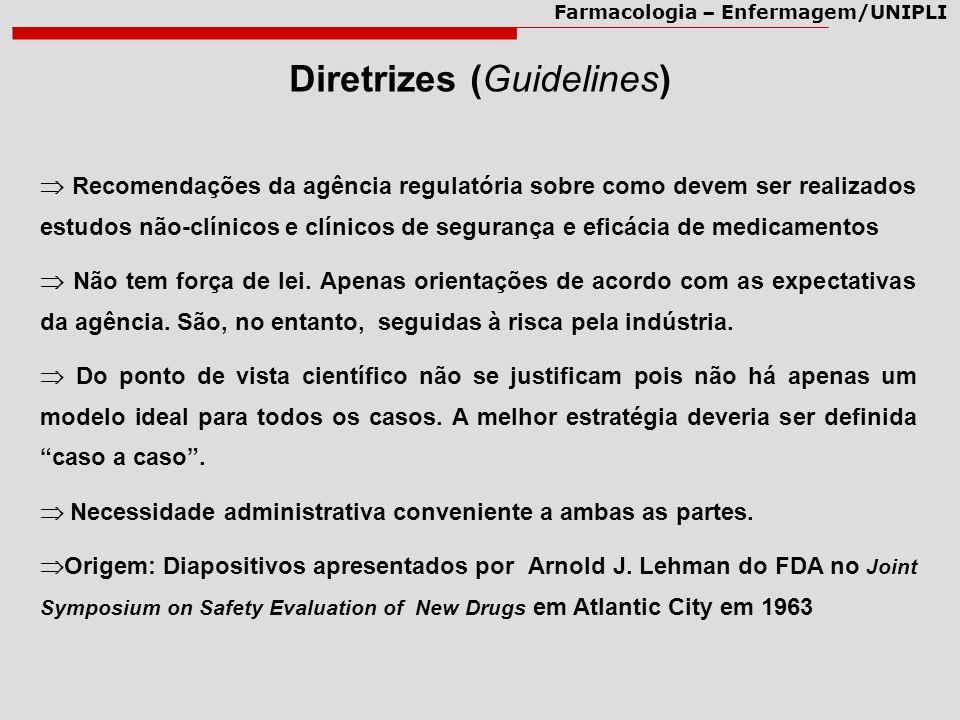 Farmacologia – Enfermagem/UNIPLI Diretrizes (Guidelines) Recomendações da agência regulatória sobre como devem ser realizados estudos não-clínicos e c