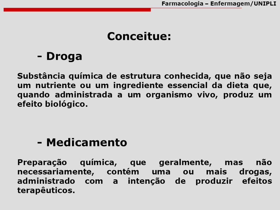 Farmacologia – Enfermagem/UNIPLI Conceitue: - Droga - Medicamento Substância química de estrutura conhecida, que não seja um nutriente ou um ingredien