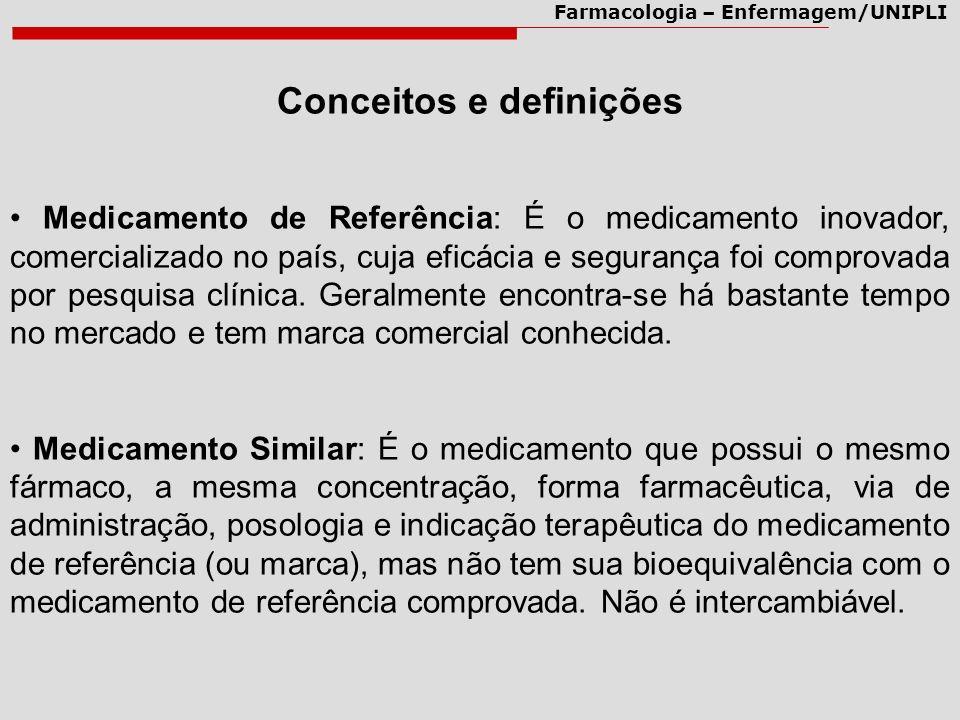 Farmacologia – Enfermagem/UNIPLI Medicamento de Referência: É o medicamento inovador, comercializado no país, cuja eficácia e segurança foi comprovada