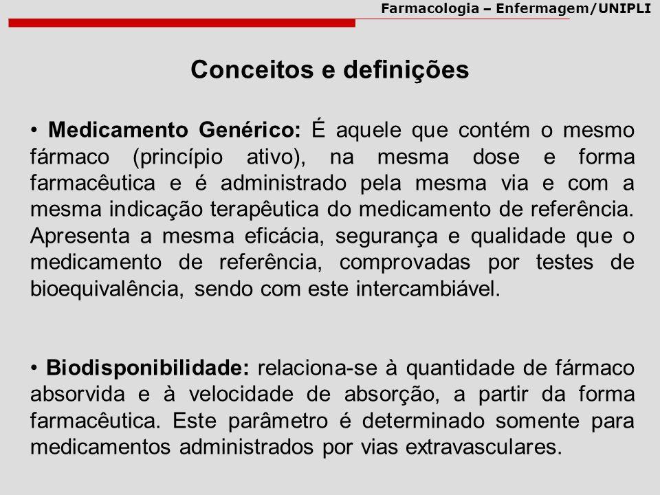 Farmacologia – Enfermagem/UNIPLI Medicamento Genérico: É aquele que contém o mesmo fármaco (princípio ativo), na mesma dose e forma farmacêutica e é a