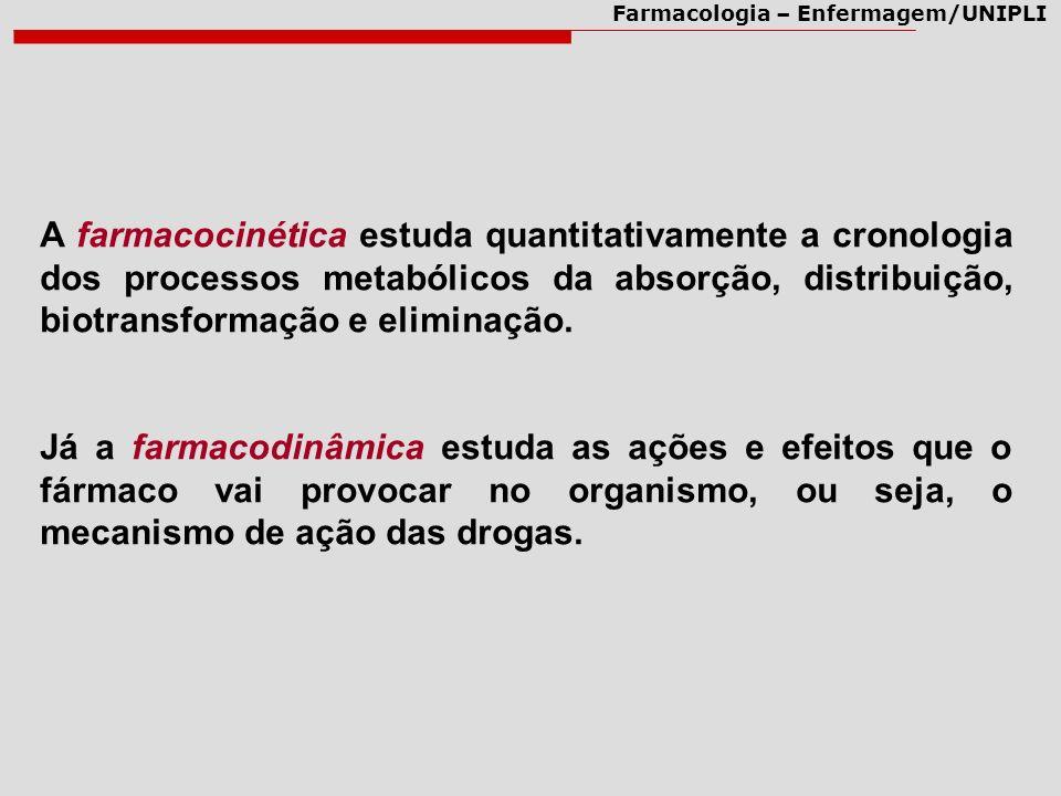 Farmacologia – Enfermagem/UNIPLI A farmacocinética estuda quantitativamente a cronologia dos processos metabólicos da absorção, distribuição, biotrans