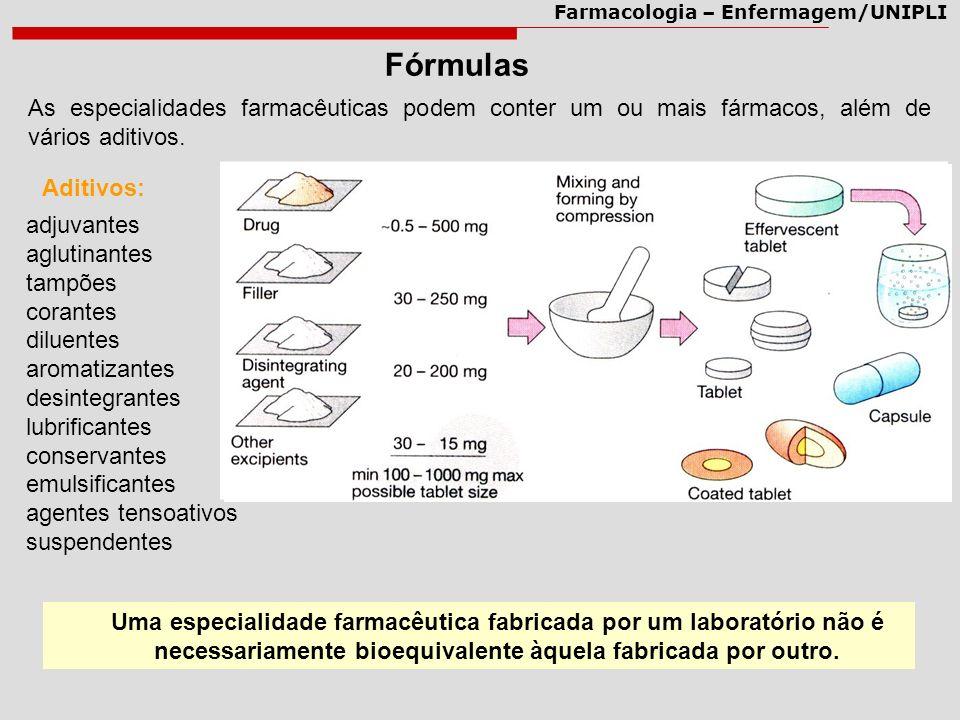Farmacologia – Enfermagem/UNIPLI Fórmulas As especialidades farmacêuticas podem conter um ou mais fármacos, além de vários aditivos. adjuvantes agluti