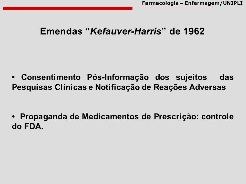 Farmacologia – Enfermagem/UNIPLI Emendas Kefauver-Harris de 1962 Consentimento Pós-Informação dos sujeitos das Pesquisas Clínicas e Notificação de Rea