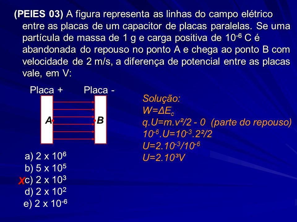 (PEIES 03) A figura representa as linhas do campo elétrico entre as placas de um capacitor de placas paralelas. Se uma partícula de massa de 1 g e car