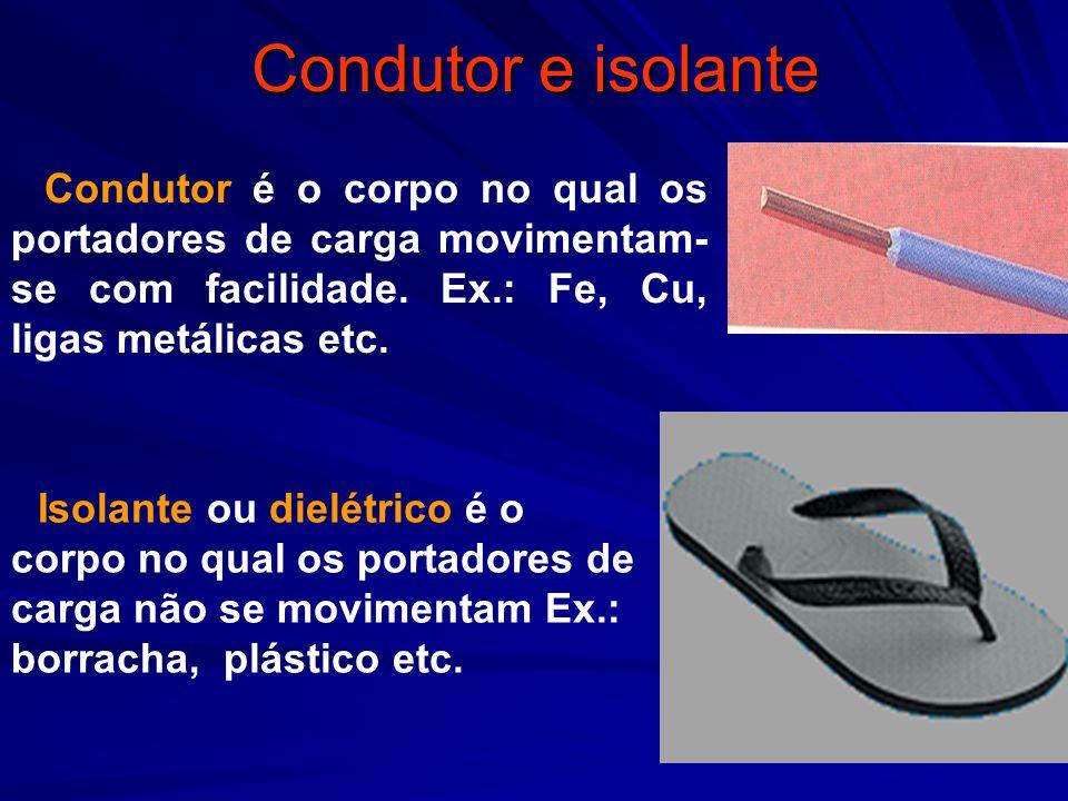 Condutor e isolante Condutor é o corpo no qual os portadores de carga movimentam- se com facilidade. Ex.: Fe, Cu, ligas metálicas etc. Isolante ou die