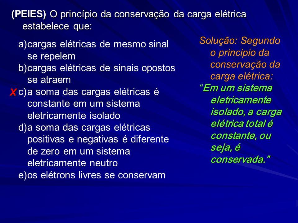 (PEIES) O princípio da conservação da carga elétrica estabelece que: a)cargas elétricas de mesmo sinal se repelem b)cargas elétricas de sinais opostos