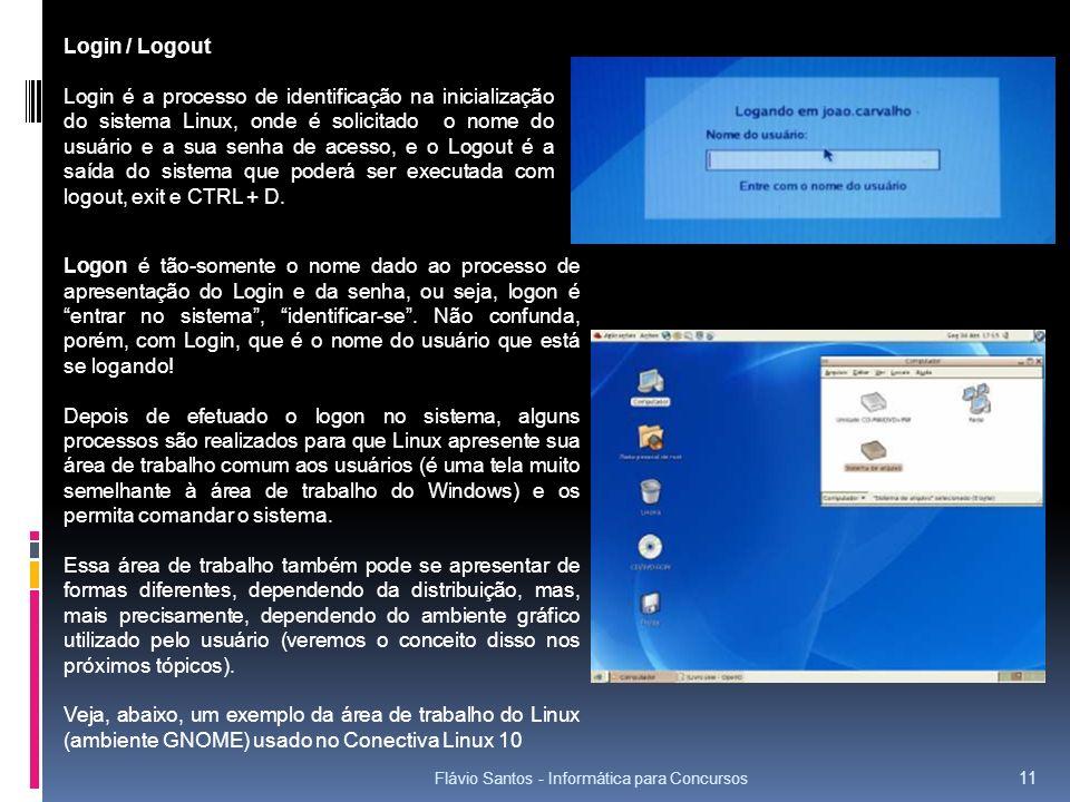 Flávio Santos - Informática para Concursos 11 Login / Logout Login é a processo de identificação na inicialização do sistema Linux, onde é solicitado