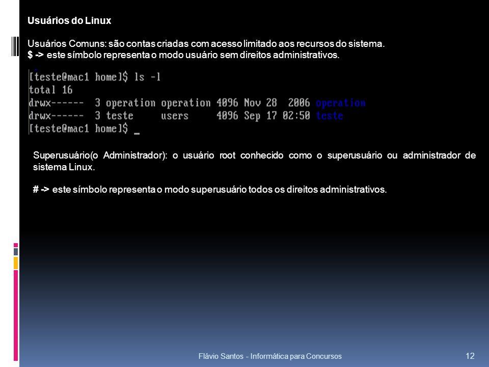 Flávio Santos - Informática para Concursos 12 Usuários do Linux Usuários Comuns: são contas criadas com acesso limitado aos recursos do sistema. $ ->