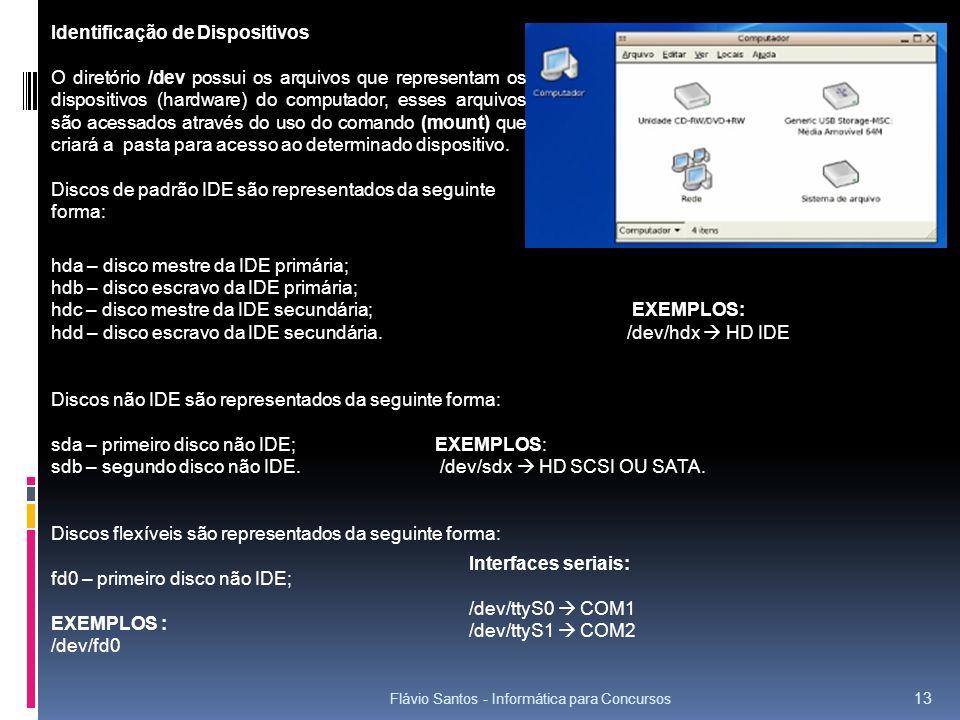 Flávio Santos - Informática para Concursos 13 hda – disco mestre da IDE primária; hdb – disco escravo da IDE primária; hdc – disco mestre da IDE secun