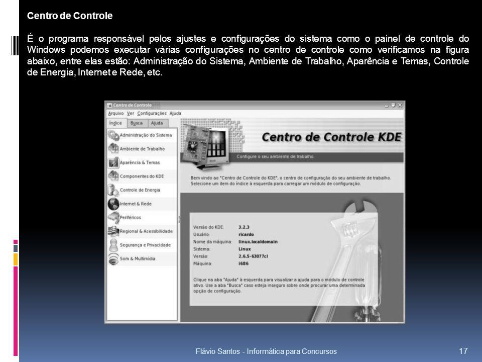 Flávio Santos - Informática para Concursos 17 Centro de Controle É o programa responsável pelos ajustes e configurações do sistema como o painel de co