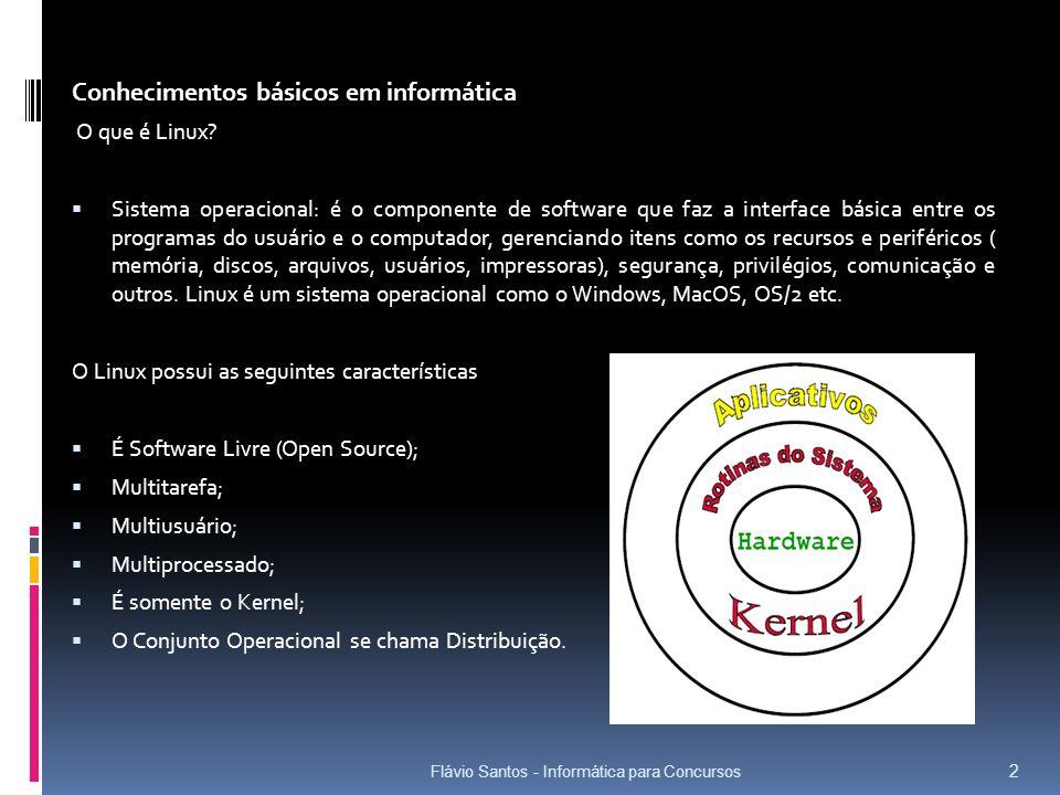 Flávio Santos - Informática para Concursos 13 hda – disco mestre da IDE primária; hdb – disco escravo da IDE primária; hdc – disco mestre da IDE secundária; EXEMPLOS: hdd – disco escravo da IDE secundária./dev/hdx HD IDE Discos não IDE são representados da seguinte forma: sda – primeiro disco não IDE;EXEMPLOS: sdb – segundo disco não IDE.