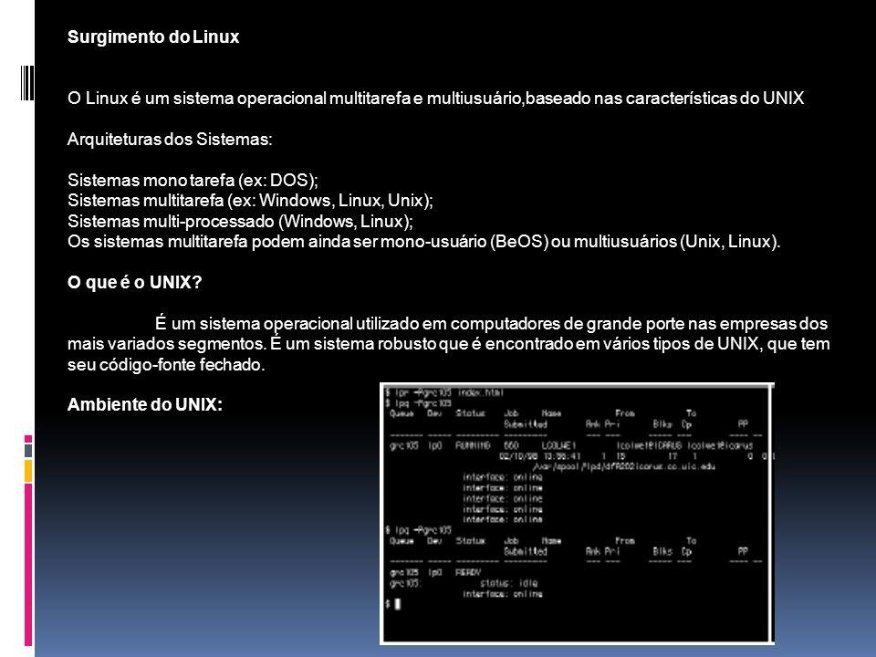 Surgimento do Linux O Linux é um sistema operacional multitarefa e multiusuário,baseado nas características do UNIX Arquiteturas dos Sistemas: Sistema